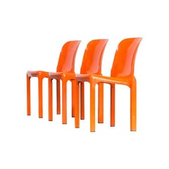 1960s Vico Magistretti 'Selene' Dining Chair for Artemide Set of 3