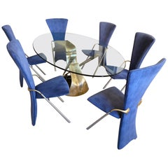 60s Vintage Sculptural Oval Dining Table and 6 Blue Velvet Statement Chairs