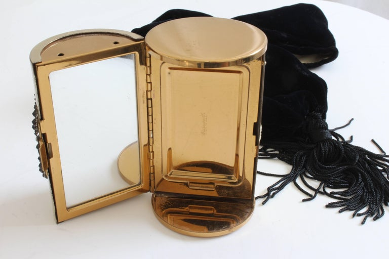 60s Wadsworth Minaudière Gold Metal Make Up Clutch + Comb & Black Evening Pouch  For Sale 6