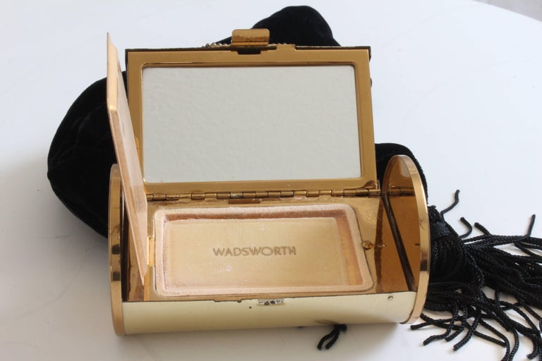 60s Wadsworth Minaudière Gold Metal Make Up Clutch + Comb & Black Evening Pouch  For Sale 7