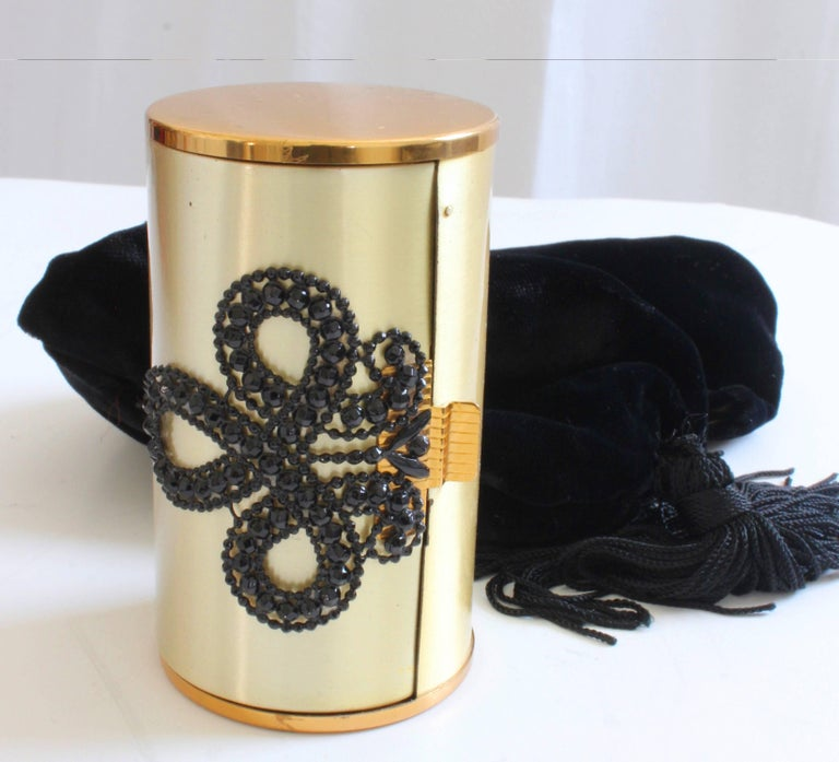 60s Wadsworth Minaudière Gold Metal Make Up Clutch + Comb & Black Evening Pouch  For Sale 2