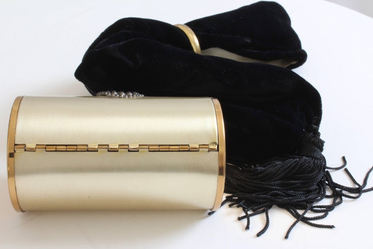 60s Wadsworth Minaudière Gold Metal Make Up Clutch + Comb & Black Evening Pouch  For Sale 4