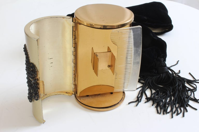 60s Wadsworth Minaudière Gold Metal Make Up Clutch + Comb & Black Evening Pouch  For Sale 5