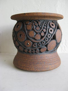 60's Wayne Chapman San Diego California Studio Pottery Vessel Vase Candleholder