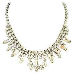 "60'S Weiss Style Silver & Austrian Crystal ""Diamond"" Rhinestone Choker Necklace"