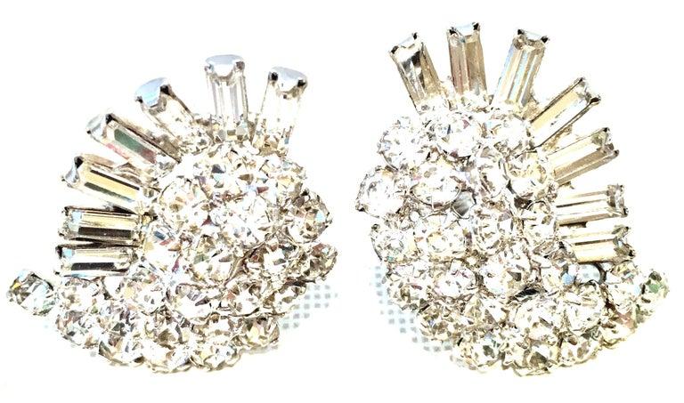 1960'S Weiss Style Silver & Swarovski Crystal Clear Dimensional