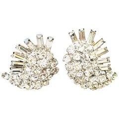 """60's Weiss Style Silver & Austrian Crystal """"Snail"""" Form Earrings"""