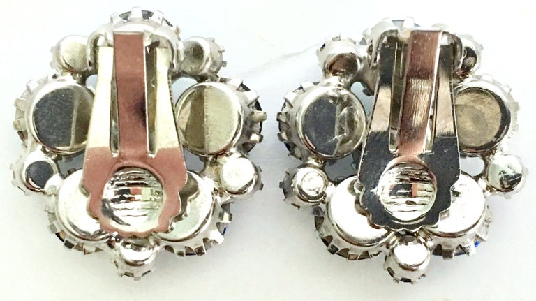 60'S Weiss Style Silver & Swarovski Crystal Brooch & Earrings Set/3 For Sale 7