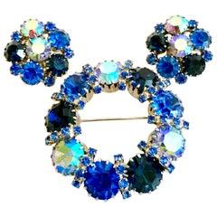 60'S Weiss Style Silver & Swarovski Crystal Brooch & Earrings Set/3