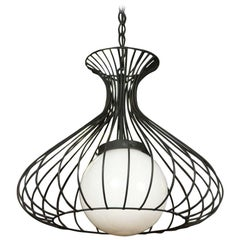 60's Wire and Glass Ball Chandelier
