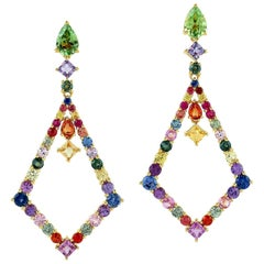 6.1 Carat Multi Sapphire Tourmaline 18 Karat Gold Kite Earrings