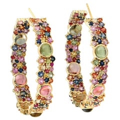 6.1 Carat Tourmaline Sapphire Hoop Earrings
