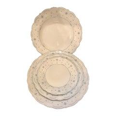 61 Pieces Hutschenreuther Porcelain Dinner Set, Fleur De Lis Blue Pattern