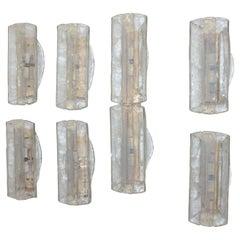 6+1 Sconces Murano Ice Glass Mazzega Carlo Nason, 1970s