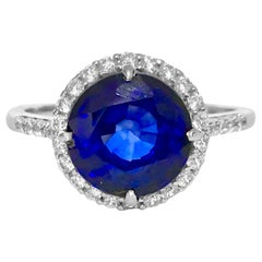6.10 Carat Blue Sapphire Diamond White Gold Engagement Ring
