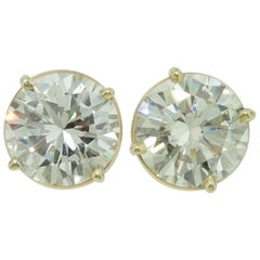 6.10 Carat Diamond Vintage 14 Karat Gold Stud Earrings Estate Fine Jewelry
