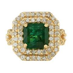 6.10 Carat Emerald 18 Karat Yellow Gold Diamond Ring