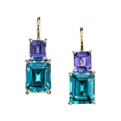 6.10 Carat Emerald Cut Blue Zircon and Tanzanite Earrings 18 Karat Yellow Gold