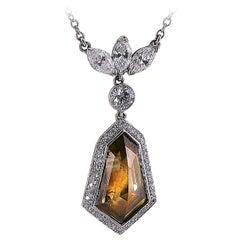 6.10 Carat GIA Certified Fancy Color Diamond Platinum Drop Necklace