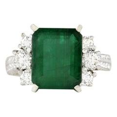 6.10 Carat Natural Emerald 18 Karat White Gold Diamond Ring
