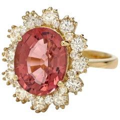 6.10 Carat Natural Tourmaline and Diamond 14 Karat Solid Yellow Gold Ring