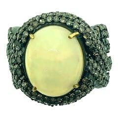 6.10 Carat Opal, Diamond Ring in Oxidized Sterling Silver, 18 Karat Gold