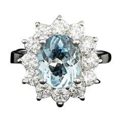 6.10 Carats Natural Aquamarine and Diamond 14k Solid White Gold Ring