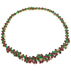 One of a Kind Tutti Frutti 61.00 Carat Emerald Ruby Diamond Necklace 18K