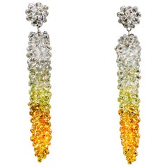 61.07 Carat Multicolored Grapevine 18 Karat Diamond Earrings