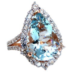 6.10 Carat Natural Aquamarine Diamonds Pear Cocktail Halo Cluster Ring 14 Karat