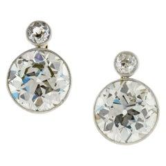 6.11 Carat Old European Cut Diamond Earrings