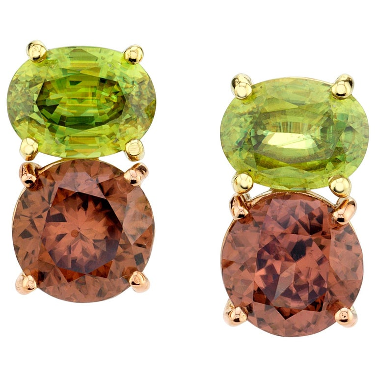 6.11 Carat Rose Zircon and Sphene, 18 Karat Yellow and Rose Gold Earrings For Sale
