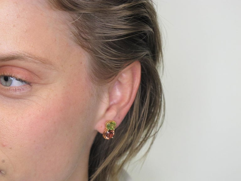6.11 Carat Rose Zircon and Sphene, 18 Karat Yellow and Rose Gold Earrings In New Condition For Sale In Los Angeles, CA