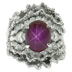 6.11 Ctw Star Ruby Brutalist Era Cocktail Ring Dome Diamond Midcentury Gemstone