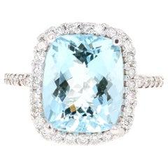 6.12 Carat Aquamarine Diamond 14 Karat White Gold Engagement Ring