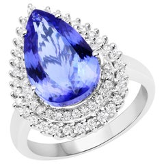 6.12 Carat Genuine Tanzanite and White Diamond 14 Karat White Gold Ring