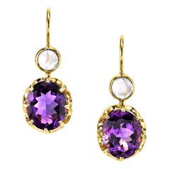 6.12 Carat Natural African Amethyst and Moonstone 18 Karat Yellow Gold Earrings