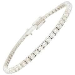6.12 Carat Round Brilliant Cut Diamond Tennis Bracelet 14 Karat White Gold