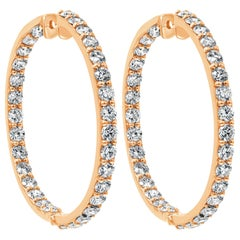 6.12 Carat Round Diamond Hoop Earrings in 18 Karat Rose Gold