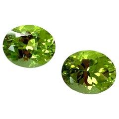6.13 Carat Apple Green Peridot Oval Pair, Unset Loose Drop Earring Gemstones
