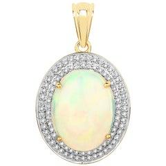6.13 Carat Ethiopian Opal and White Diamond 14 Karat Yellow Gold Pendant