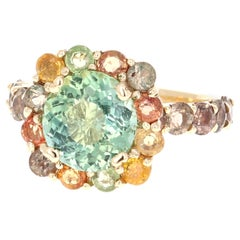 6.13 Carat Green Tourmaline Multi-Sapphire 14 Karat Cocktail Yellow Gold Ring
