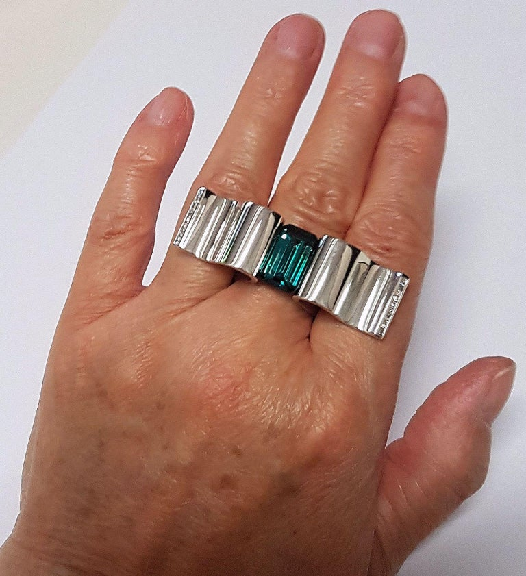 """Modern 6.13 Carat Indicolite Diamond White Gold Ring """"Wave"""" Wagner Collection For Sale"""