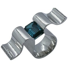 "6.13 Carat Indicolite Diamond White Gold Ring ""Wave"" Wagner Collection"