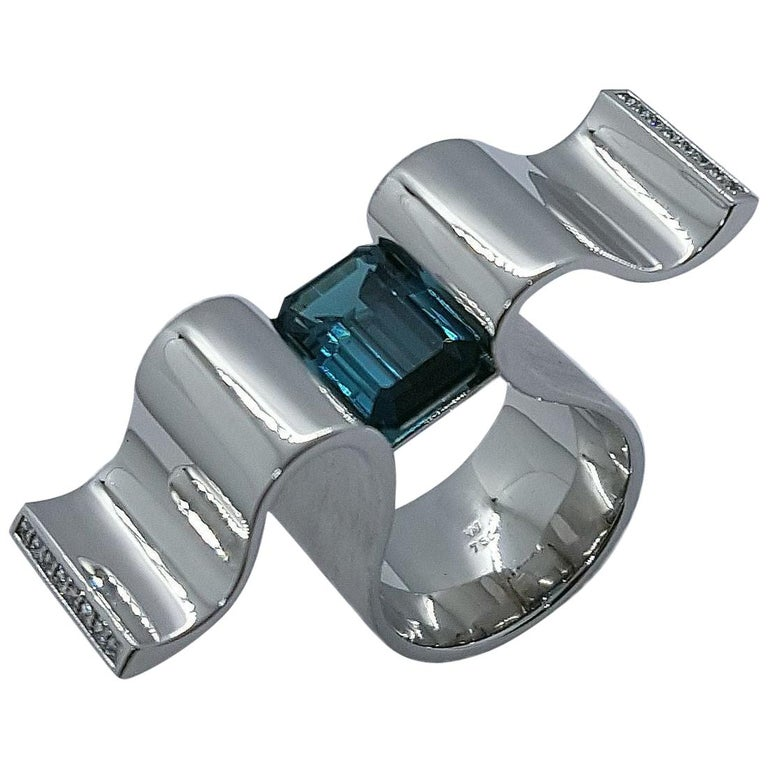 """6.13 Carat Indicolite Diamond White Gold Ring """"Wave"""" Wagner Collection For Sale"""