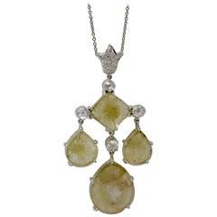 6.13 Carat Natural Yellow Slice Diamond and White Diamond Necklace