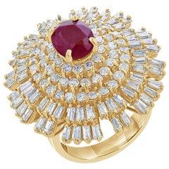 6.13 Carat Ruby Diamond 14 Karat Yellow Gold Ballerina Ring