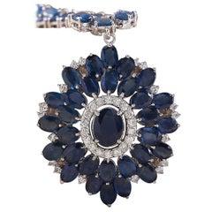 61.35 Carat Natural Sapphire 18 Karat White Gold Diamond Necklace