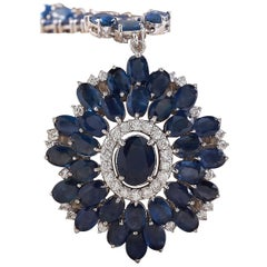 61.35 Carat Sapphire 18 Karat White Gold Diamond Necklace