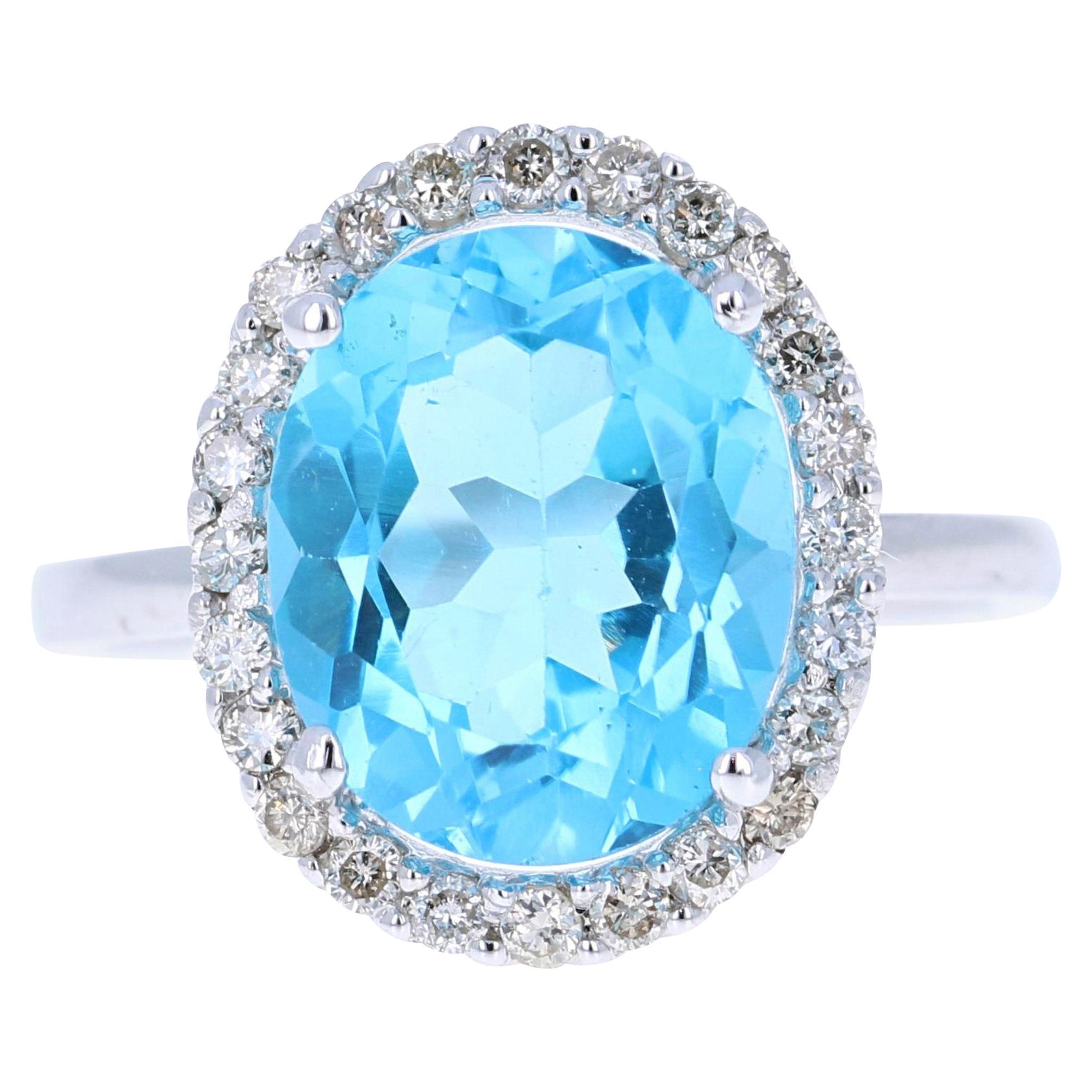 6.14 Carat Blue Topaz Diamond 14 Karat White Gold Ring